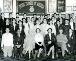 Men, women, and F.F.A. boys in a classroom at Shawnee Mission High School circa 1954