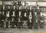Portrait of Harold Garver and 14 F.F.A. boys in 1952